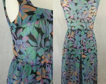 Flower Print Dress Size 12 /Vintage Dress/1970s Dress, Retro Dress. Black Dress, Floral Print Dress 1970s Clothing, Sleeveless Dress