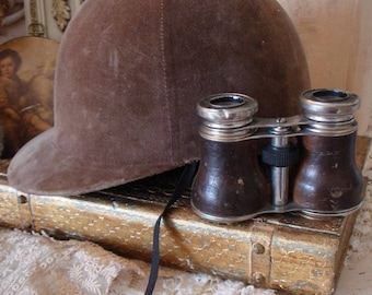 ANTIQUE JOCKEY HAT and opera field glasses gorgeous pair