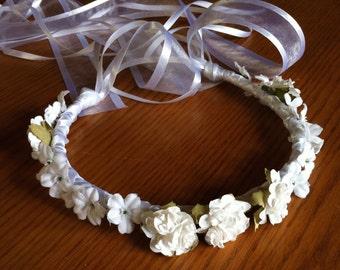 Communion Crown Flower Girl Crown - Head Wreath Head Piece Bridal Floral Ribbon Crown Halo Wreath Garland antique white ivory C-Denise