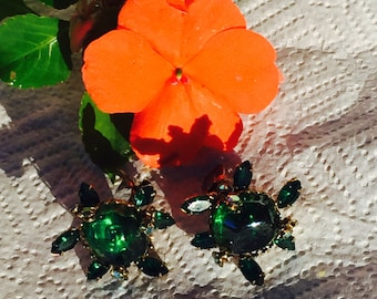 Vintage Carnival Glass Pat Pend Clip On Earrings With Emerald Marquise and Aurora Rhinestones
