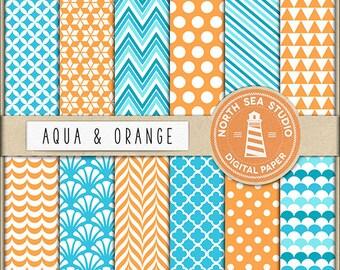 Aqua And Orange Digital Paper Pack | Scrapbook Paper | Printable Backgrounds | 12 JPG, 300dpi Files | BUY5FOR8
