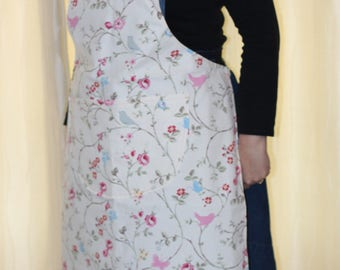 Pretty Apron with pink and blue birds