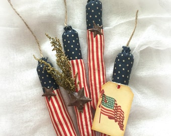 Primitive firecracker | fourth of July decorations |  patriotic decor | Americana decor | stars and stripes | primitive decoration