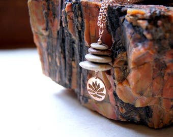 Lotus Blossom and Beach Stone Cairn Necklace with rose gold filled chain