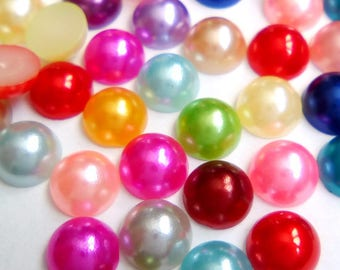 20 multicolored 6mm acrylic cabochons