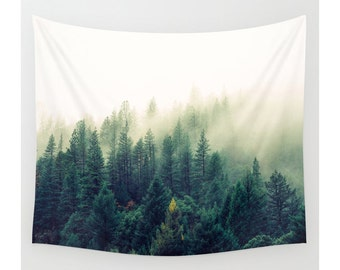 Wall Tapestry, Tree Tapestry, Wall Hanging, Mountain Trees Forest Clouds, Nature Wall Art, Large Photo Wall Art, Modern Tapestry, Home Decor
