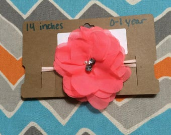 0-1 Year Old Sized Coral Chiffon Flower Headband w/ Pearl & Jewel Center (14 inches)