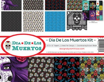 Dia De Los Muertos REMINISCE 12x12 Scrapbook Kit 1 Sticker Mixed Media Halloween DDL-200