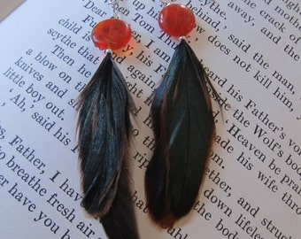 Peasant Feather Dangle Earrings with Glass Amber Disc