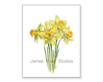 Daffodil Watercolor Painting Daffodil Art Print. Daffodil Painting Daffodil Print Yellow Daffodil Poster Daffodil Decor Daffodils Wall Art.