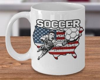 Soccer 11oz White Coffee Mug Player Goalie American Flag Gift for Soccer Players, Soccer Gift Idea, Soccer Coach Gift, Soccer Mug
