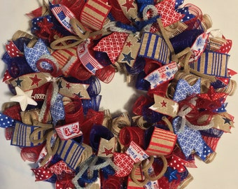 SALE Patriotic wreath, 4th of July wreath, God Bless America wreath, patriotic decor, 4th of July decor, fourth of july wreath, fourth of ju