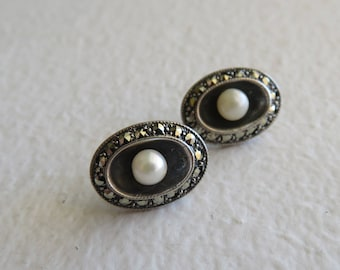 Art Deco Sterling Silver Oval Flapper Earrings W/Surrounding Marcasites, Weighs 3.9 Grams