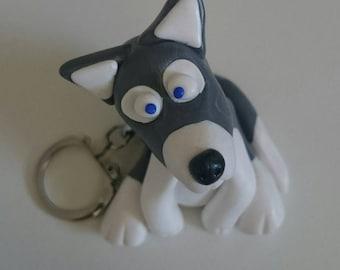 Husky dog polymer clay keychain