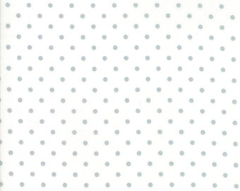 SPRING SALE - 1 yard - Vintage Holiday - 55162 18M Metallic - Silver Dot on White - Bonnie and Camille for Moda Fabrics
