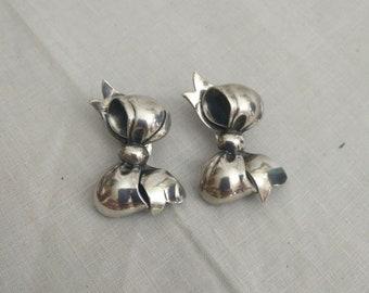 Band Krawatte Ohrclips, Monet Sterling-Ohr-Clips, Vintage Ohrringe, Fliege Ohrclips, Silber fliegen, 925 Silber, clip auf Ohrringe