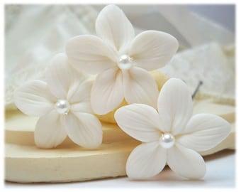 Stephanotis Hair Flowers - Bridal Flower Hair Pins, Swarovski Pearl Stephanotis Hair Clip Pins