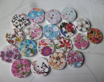x 5 mixed wooden buttons round 2 hole 20 mm flower/bird motif