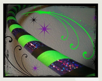 Beetlejuice Betelgeuse Dance & Exercise Hula Hoop COLLAPSIBLE Polypro, HDPE, beginner, advanced, or weighted - black purple green workout