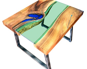 Live edge river coffee table with glowing resin fillin