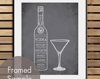 Vodka with Martini Glass - Art Print (Featured in Charcoal) (Top Shelf Alcohol Series) Buy 3 Get One Free