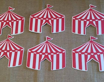 Circus Die Cut Set of 6, Circus Party, Circus Tents, Circus theme party, Carnival Tents, Birthday Party, Carnival Birthday