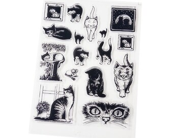 Cute Cat Clear Stamps Set of 16