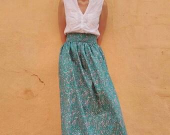 Jupe longue wax bleu vert