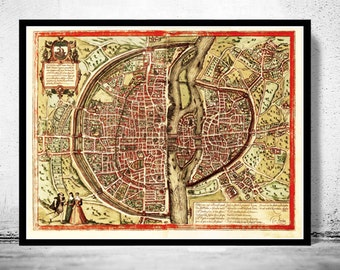 Old Map of Paris 1572