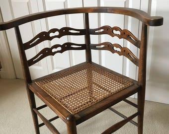 Square Antique Cane Base Wooden Corner Chair
