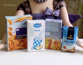 Miniature Food Groceries - Coffee Milk Cornflakes Tea, 1/6 ~ 1/4 Scale BJD Blythe DAL Playscale Dolls Fake Food (see Item Details)