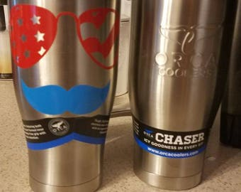 America glasses and mustache Orca Chaser tumbler