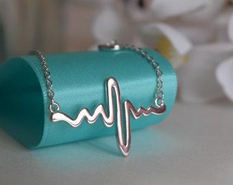 Sterling Silver Electrocardiogram EKG Necklace, Sterling Silver Necklace, Heart Beat Necklace, .925 Necklace, Gift For Nurse/ Doctor