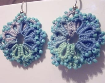 Variegated blues tatted lace and blue bead earrings