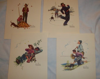 Norman Rockwell Set of 4 embossed prints
