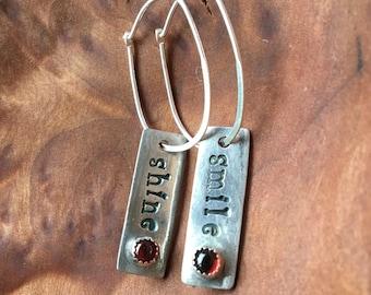 Smile/Shine Garnet Hoop Earrings