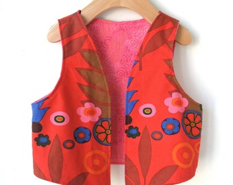 Reversible Vest for Girls in Woodland Print Size 3T to 4T