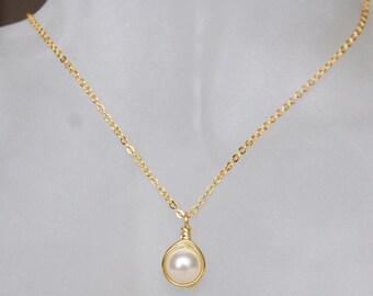 Cream Pearl Necklace , June Birthstone Necklace , Bridesmaids Necklace , Swarovski Pearl Necklace