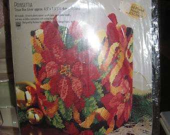 "Bucilla ""Poinsettia #61245"" Plastic Canvas Tissue Box  Kit - Complete/Original Packaging 4.5"" x 7.5""  Final Size"
