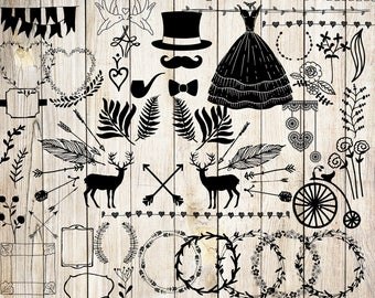 "Wedding clipart: ""WEDDING CLIP ART"" shabby chic wedding invitation vintage wedding arrows wreths flowers diy elements doodle clipart"