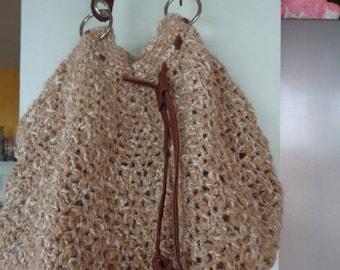 Crocheted wool tote bag