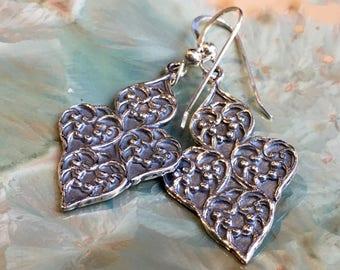 Gypsy earrings, dangle earrings, chandelier long earrings, Unique silver earrings, boho earrings, filigree long earrings - Supreme E8080