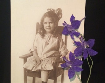 Cute Antique Victorian Photo - Little Girl with Bow and Heart Necklace - Vintage Photo - Old Photo
