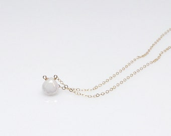 White Agate Gold Filled Necklace, stone necklace, bridesmaid gift