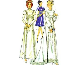 70s Wedding Dress Pattern Vintage Empire Waist Juliet Sleeve Bohemian Bridal Gown Pattern 1970s Bridesmaid Dress Butterick 6476 Bust 36