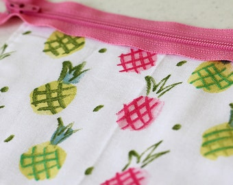 Pineapple bag, Cosmetic, Green, Pink, zipper pouch, change purse, mini business card id holder, coin purse, small, cash envelope, kid wallet
