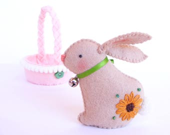 Felt PDF pattern - Easter bunny in a basket - sewing pattern, DIY Easter decoration, felt softie with embroidered details, digital item