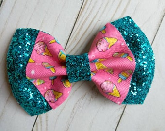 Yummy yummy pink bubble ice cream faux leather bow