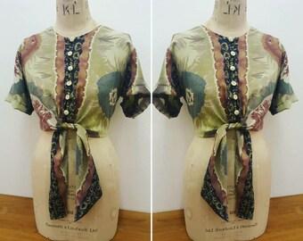 Vintage/retro nineties tie dye cropped tie blouse.  Grey/burgundy/blue.  Size M/L.  Hipster/hippie/pin up/grunge/90s/kawaii