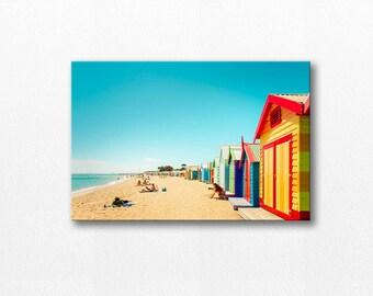 coastal canvas print beach canvas large canvas art beach house decor coastal beach photography canvas nursery decor canvas aqua red yellow